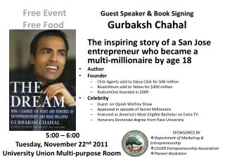 Guest Speaker & Book Signing Gurbaksh Chahal