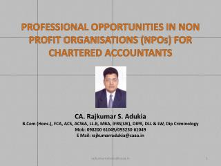 PROFESSIONAL OPPORTUNITIES IN NON PROFIT ORGANISATIONS (NPOs) FOR CHARTERED ACCOUNTANTS