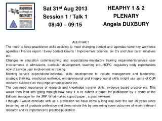 HEAPHY 1 & 2 PLENARY Angela DUXBURY