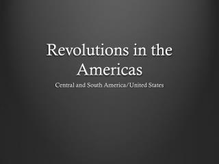 Revolutions in the Americas