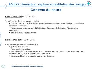 ESE22 : Formation, capture et restitution des images