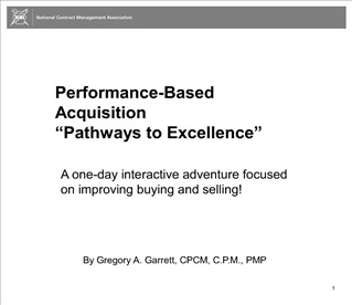 Performance-Based Acquisition  Pathways to Excellence