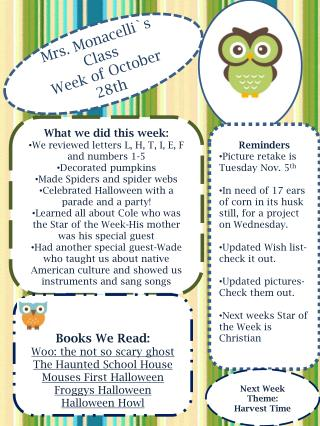Mrs. Monacelli`s Class Week of October   28th