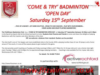 'COME & TRY' BADMINTON 'OPEN DAY'  Saturday 15 th  September