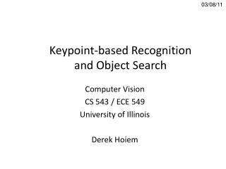 Keypoint -based Recognition and Object Search