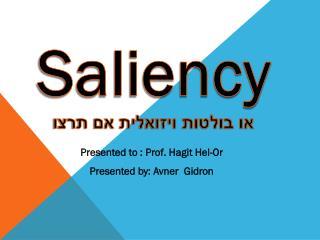 Saliency או בולטות ויזואלית אם תרצו