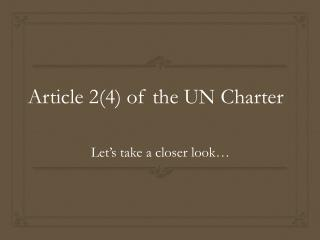Article 2(4) of the UN Charter