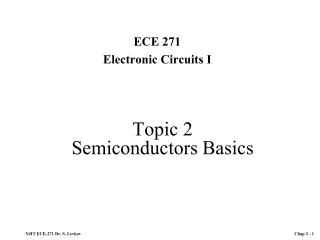 Topic 2 Semiconductors Basics