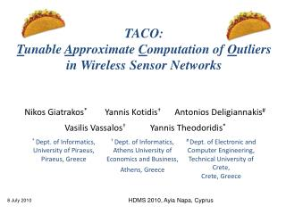 TACO:  T unable  A pproximate  C omputation of  O utliers in Wireless Sensor Networks