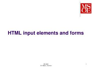 HTML input elements and forms