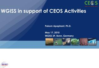 WGISS in support of CEOS Activities