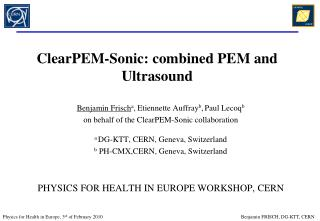 ClearPEM-Sonic: combined PEM and Ultrasound