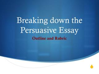 Breaking down the  Persuasive Essay