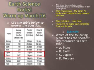 Earth Science Rocks! Warm up March 26