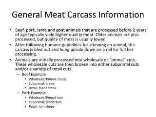 General Meat Carcass Information