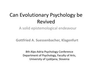 Can  Evolutionary Psychology be Revived