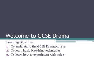 Welcome to GCSE Drama