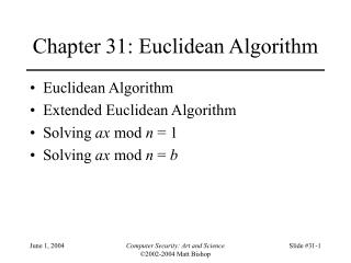 Chapter 31: Euclidean Algorithm
