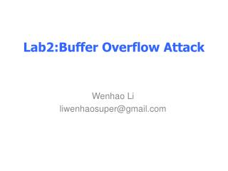 Lab2:Buffer Overflow Attack