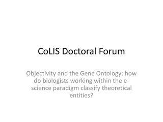 CoLIS Doctoral Forum