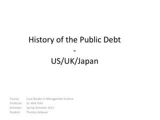 History of the Public Debt - US/UK/ Japan