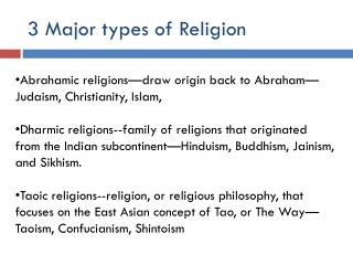 3 Major types of Religion
