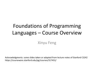 Foundations of Programming Languages – Course Overview