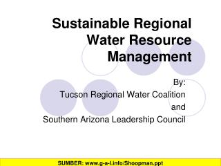 Sustainable Regional Water Resource Management