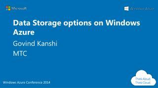Data Storage options on Windows Azure