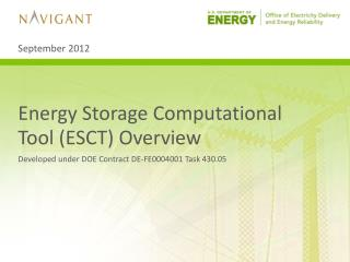 Energy Storage Computational Tool ( ESCT) Overview
