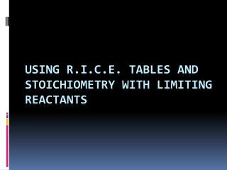 Using R.I.C.E. Tables and stoichiometry with limiting reactants