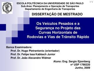 ESCOLA POLITÉCNICA DA UNIVERSIDADE DE SÃO PAULO Sub-Área: Planejamento e Operação de Transportes