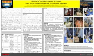 Introducing  balloon tamponade technology in the management of postpartum haemorrhage in  Malaysia