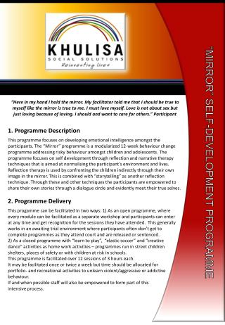"""MIRROR"" SELF-DEVELOPMENT PROGRAMME"