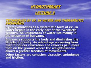 HYDROTHERAPY LECTURE 5