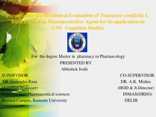 For  the degree Master in  pharmacy in Pharmacology
