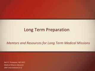 Long Term Preparation