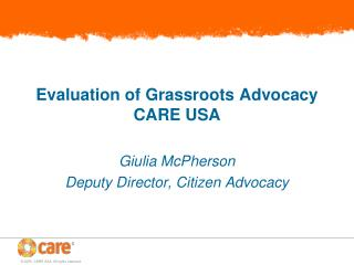 Evaluation of Grassroots Advocacy CARE USA