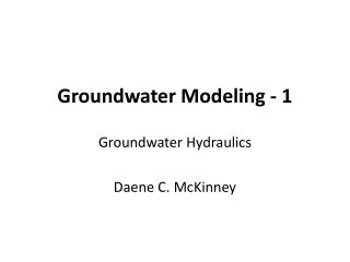 Groundwater Modeling - 1