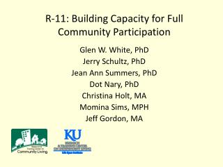 R-11: Building Capacity for Full Community Participation