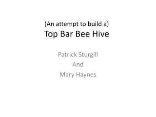 (An attempt to build a) T op Bar Bee Hive