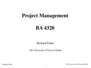 Project Management BA 4320