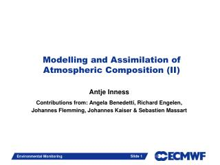 Modelling and Assimilation of Atmospheric Composition (II)