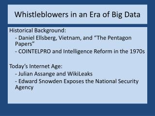 Whistleblowers in an Era of Big Data