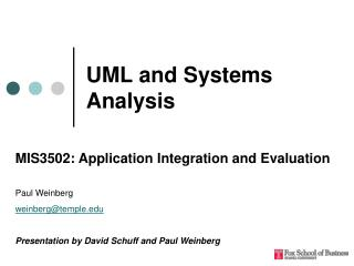 UML and Systems Analysis