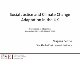 Magnus Benzie Stockholm Environment Institute