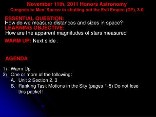 November  11th,  2011 Honors  Astronomy