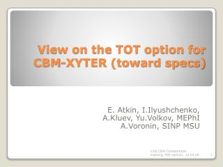 View on the TOT option for CBM-XYTER (toward specs)
