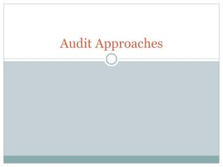 Audit Approaches
