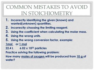 Common mistakes to avoid in Stoichiometry